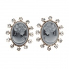 SHI CAI NI D41741-02A Retro Beauty Style Rhinestone Earrings - Grey White + Golden + Black (Pair)