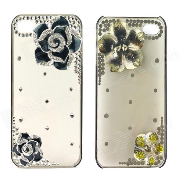 3-Dimensional Rhinestone Camellia Pattern Protective Plastic Back Case for Iphone5 - Black + Silver camellia flower style rhinestone protective plastic zinc alloy case for iphone 5 5s
