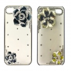 3-Dimensional Rhinestone Camellia Pattern Protective Plastic Back Case for Iphone5 - Black + Silver