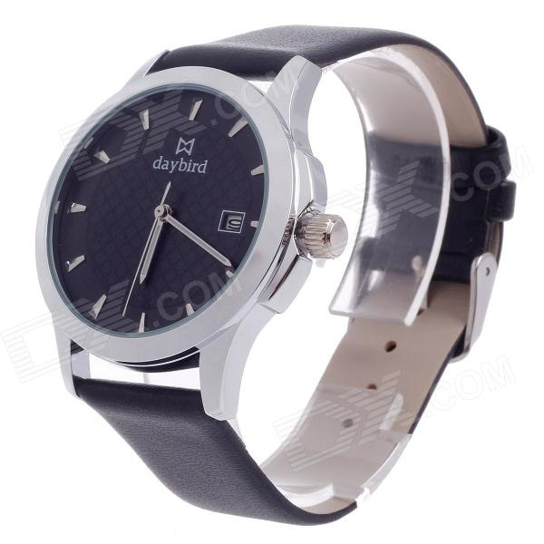Daybird 3807 Stylish Analog Quartz Men's Wrist Watch w/ Simple Calendar - Black + Silver (1 x LR626) daybird 3755 w man s stainless steel analog quartz waterproof wrist watch white black silver