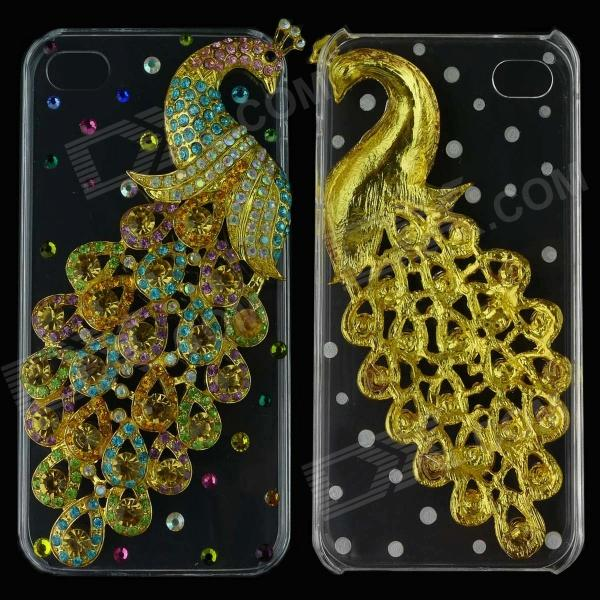 Colorful Three-Dimensional Rhinestone Peacock Protective Back Case for Iphone 5 - Golden three dimensional adjustable zinc alloy connector for gopro 3 3 2 golden