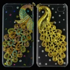 Colorful Three-Dimensional Rhinestone Peacock Protective Back Case for Iphone 5 - Golden