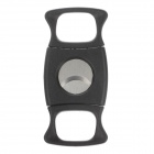Portable Plastic + Stainless Steel Cigar Cutter Knife - Black + Silver