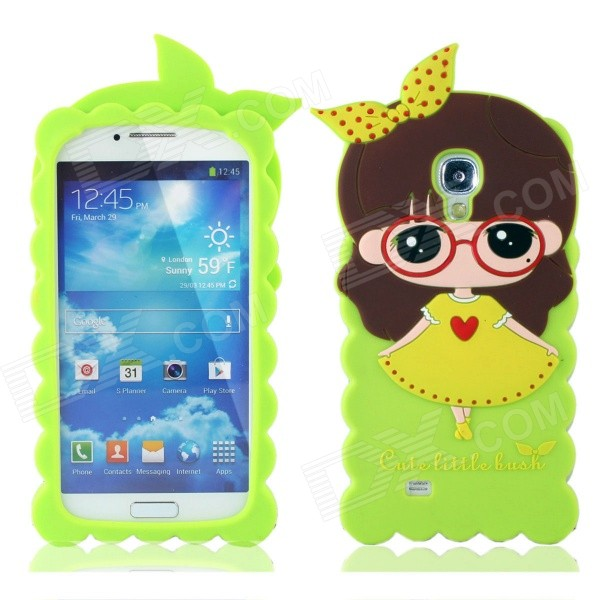 Cute 3D Girl Style Protective Silicone Back Case for Samsung Galaxy S4 i9500 - Green protective cute spots pattern back case for samsung galaxy s4 i9500 multicolored