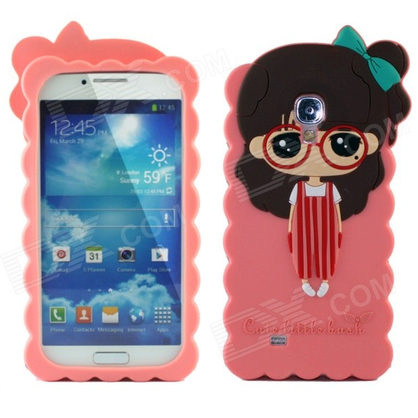 Cute 3D Girl Style Protective Silicone Back Case for Samsung Galaxy S4 i9500 - Pink protective cute spots pattern back case for samsung galaxy s4 i9500 multicolored