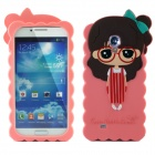 Cute 3D Girl Style Protective Silicone Back Case for Samsung Galaxy S4 i9500 - Pink