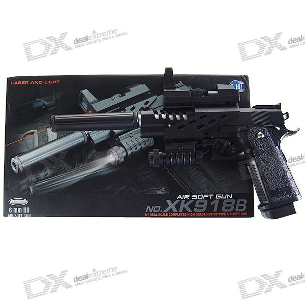 6mm Pistol Spring-load BB Gun Toy with Laser Sight and Flashlight