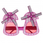Decorative UV400 Windmill Style Glasses - Deep Pink + White