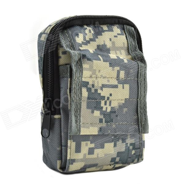 800D Waterproof Fabrics Waist Bag for Investigation Tools - Camouflage Grey stylish camouflage terylene waist bag