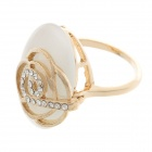 Fashionable Flower Pattern Rhinestone + Opal Ring for Women - Golden (UK Size-18)