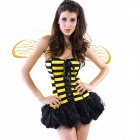 Bee Style Outfit Costumes for Halloween - Yellow + Black (Free Size)