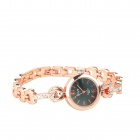 Stylish Zinc Alloy Women's Quartz Analog + Digital Bracelet Watch - Golden (1 x 377)
