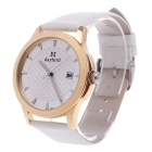 Daybird 3807 PU Leather + Simple Calendar Analog Quartz Men's Wrist Watch - White + Silver + Golden