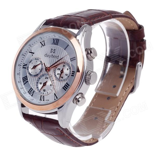 Daybird 3781 Fashion Artificial 3 Eyes + Rome Digital Quartz Analog Wrist Watch for Men - Brown