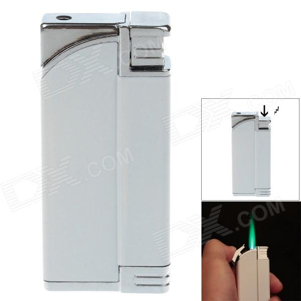 Fashion Windproof Butane Gas Lighter / Electric Trick Toy - White + Silver