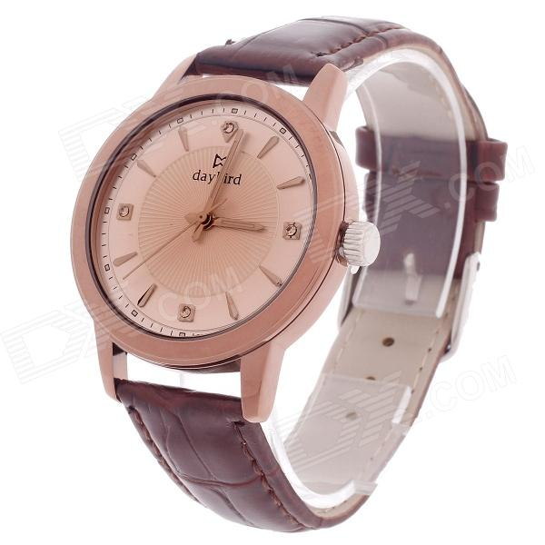 Daybird 3795 PU Leather Band Analog Quartz Men's Wrist Watch - Brown + Champagne Gold (1 x LR626) daybird 3802 pu leather band quartz analog women s wrist watch black golden white 1 x lr626