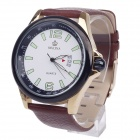 ORKINA W009 Stylish Men's Quartz Analog Wrist Watch w/ Simple Calendar - Brown + Golden (1 x LR626)