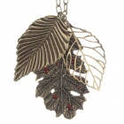 Rhinestone Decoration Retro Leaf Style Pendant Sweater Necklace for Women - Bronze