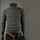 Classic Men's Turtleneck Sweater - Deep Grey (Size-XL)