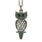 Retro Chic Owl Style Pendant Sweater Necklace for Women - Bronze + Blue