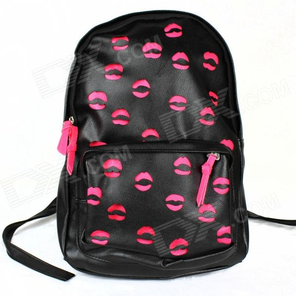 Lips Fluorescence Hollow Backpack - Deep Pink + Black