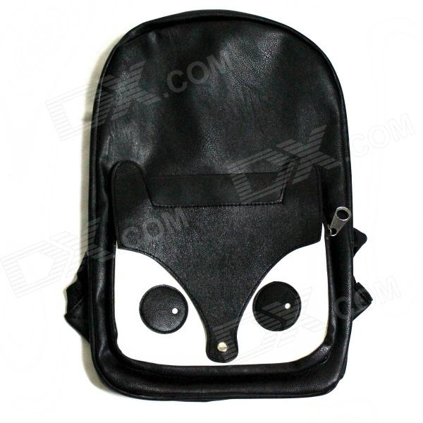White Fox Style PU Leather Backpack - Black + White