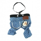 Pet Dog Suspender Trousers - Blue + Black + White (Size L)