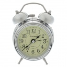 Classical Sharp Quartz Analog Twin Bell Alarm Clock w / Light - Silver (1 x AA)