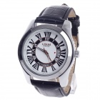 CJIABA GA9016 Roman Numeral Dial Automatic Mechanical Men's Wrist Watch - Black + White + Silver