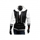 W101 Casual Hooded Jacket for Men - Black + White  (Size XL)