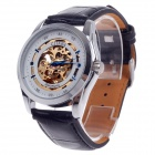 CJIABA GK8008 Double-Sided Hollow Style Mechanical Men's Wrist Watch - Black + White + Golden + Blue