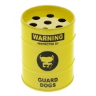 Creative Oil Drum Shaped Guard Dog Stainless Steel Ashtray / Pen Holder - Yellow + Black