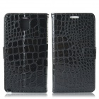 Protective Crocodile Pattern PU Leather Case w/ Card Slots, Holder for Samsung Galaxy Note 3 - Black