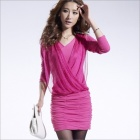 Fashionable Women's Show Thin Package Hip Long-Sleeve Dress - Deep Pink (Size-L)
