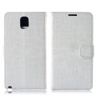 Protective Crocodile Pattern PU Leather Case w/ Card Slots, Holder for Samsung Galaxy Note 3 - White