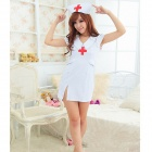 Low-Cut V-Neck Dress Sexy Nurse Uniform - White