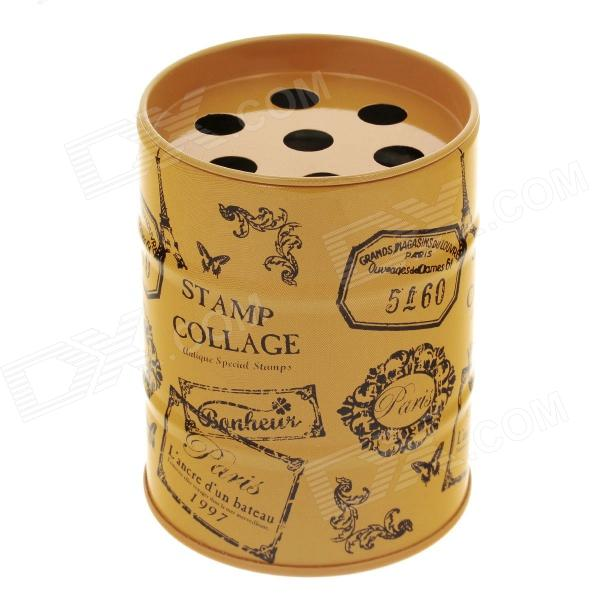 Fashion Oil Drum Shaped Stamp Collage Pattern Stainless Steel Ashtray / Pen Holder - Orange + Black