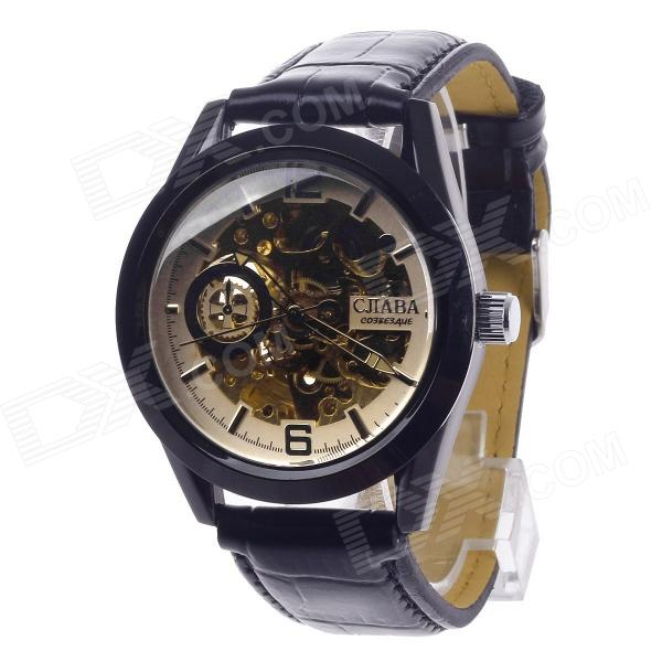 CJIABA GK8018 Double-Sided Skeleton Automatic Mechanical Analog Men's Wrist Watch - Black + Golden cjiaba gk8001 w pu leather band analog skeleton mechanical wrist watch for men black white