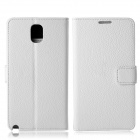 Protective Lychee Pattern PU Leather Case w/ Card Slots, Holder for Samsung Galaxy Note 3 - White