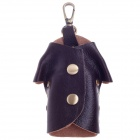 Fashionable T-Shirt Style Copper Aluminum Alloy + Head Layer Cowhide Keychain - Brown