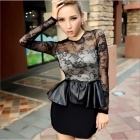 Fashion Sexy Female Club Falbala Slim Fit Over Hip Long-sleeved Dress - Black (Free Size)