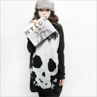 Skull Pattern Loose Long Sleeves T-shirt for Women - Black  (Free Size)