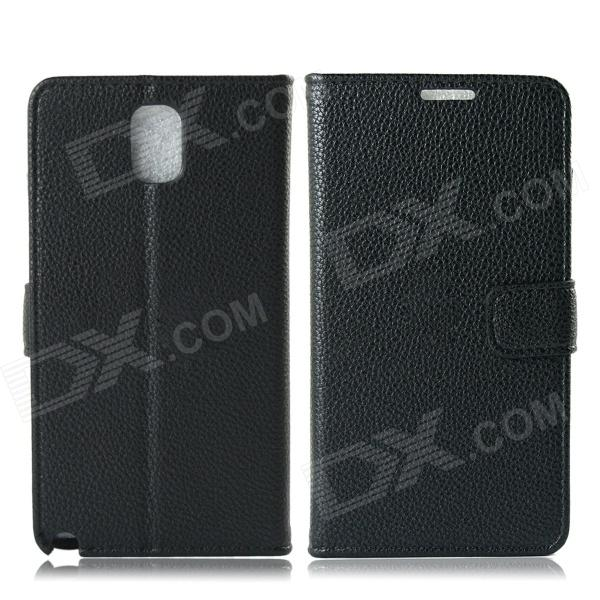 Protective Lychee Pattern PU Leather Case w/ Card Slots, Holder for Samsung Galaxy Note 3 - Black oracle style protective pu leather case w card holder slots for samsung galaxy note 3 white