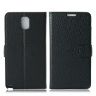Protective Lychee Pattern PU Leather Case w/ Card Slots, Holder for Samsung Galaxy Note 3 - Black