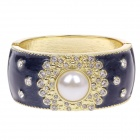 Fashionable Noble Zinc Alloy + Pearl Wide Bracelet w/ Shiny Rhinestone - Black + White + Golden