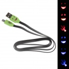 Smile Face Flat USB 2.0 Male to Micro USB Male Data Sync / Charging Cable - Black + Green (100cm)