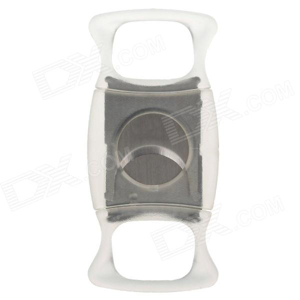 1526 High Quality Double Blades Sharp Stainless Steel Cigar Cutter - Silver + Transparent