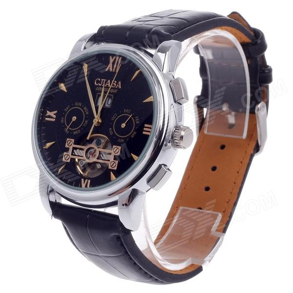 CJIABA DF301 Double-Side Automatic Men's Analog Wrist Watch w/ Calendar - Black + Silver + Golden