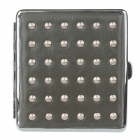 PU Leather + Stainless Steel Double-sided Rivet Cigarette Case - Gray + Silver (Holds 20 PCS)