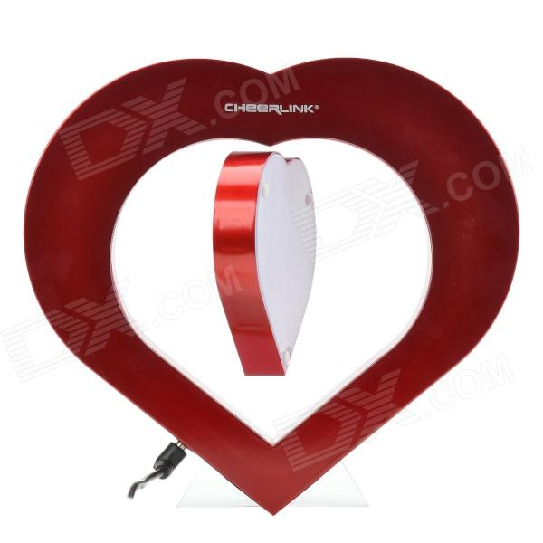 CHEERLINK Heart Shape Magnetic Levitation Rotating Photo Frame with LED - Red